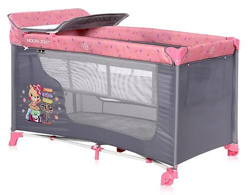 Кровать-манеж Lorelli MOONLIGHT 2 Pink Travelling 2046 (4)
