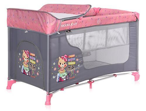 Кровать-манеж Lorelli MOONLIGHT 2 Pink Travelling 2046 (5)