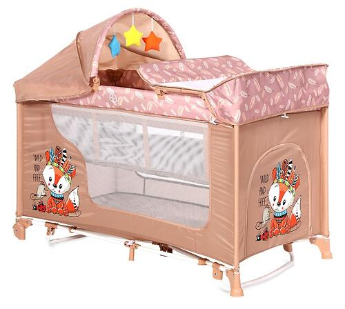 Кровать-манеж Lorelli MOONLIGHT 2 Plus Rocker Beige Foxy 2042 (4)