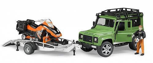 Внедорожник Bruder Land Rover Defender с прицепом, снегоходом и водителем (5)