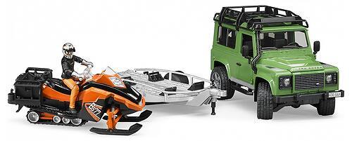 Внедорожник Bruder Land Rover Defender с прицепом, снегоходом и водителем (6)