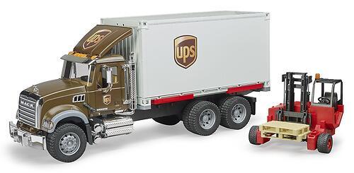 Фургон Bruder Mack UPS с погрузчиком и паллетами (5)