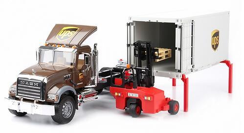 Фургон Bruder Mack UPS с погрузчиком и паллетами (7)