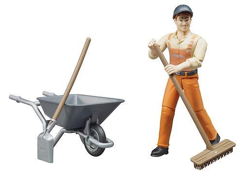 Фигурка Bruder работника коммунальной службы с тележкой и аксессуарами (4)