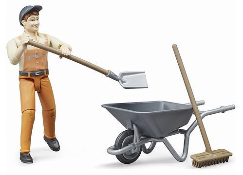 Фигурка Bruder работника коммунальной службы с тележкой и аксессуарами (5)