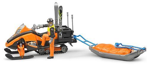 Снегоход Bruder с креплением Акиа, водителем и горнолыжником (8)
