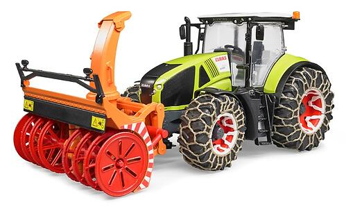 Трактор Bruder Claas Axion 950 c цепями и снегоочистителем (4)