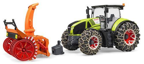 Трактор Bruder Claas Axion 950 c цепями и снегоочистителем (5)