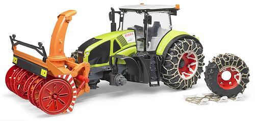 Трактор Bruder Claas Axion 950 c цепями и снегоочистителем (6)