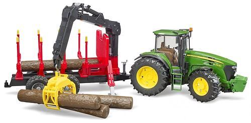 Трактор Bruder John Deere c прицепом с манипулятором и 4 брёвнами (4)