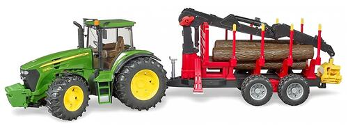 Трактор Bruder John Deere c прицепом с манипулятором и 4 брёвнами (5)