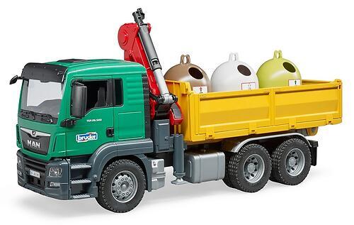 Самосвал Bruder MAN c 3 мусорными контейнерами (5)