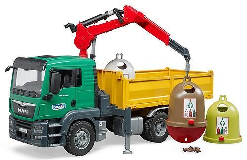 Самосвал Bruder MAN c 3 мусорными контейнерами (7)