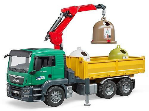 Самосвал Bruder MAN c 3 мусорными контейнерами (6)