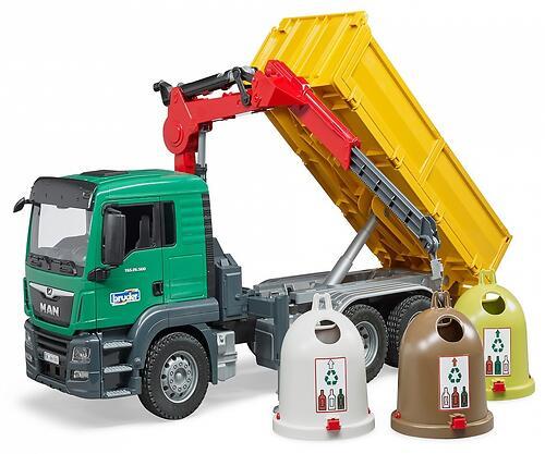 Самосвал Bruder MAN c 3 мусорными контейнерами (8)