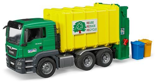 Мусоровоз Bruder MAN TGS Зеленый-Желтый (4)