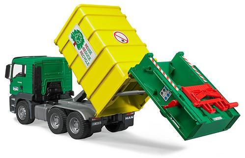 Мусоровоз Bruder MAN TGS Зеленый-Желтый (6)