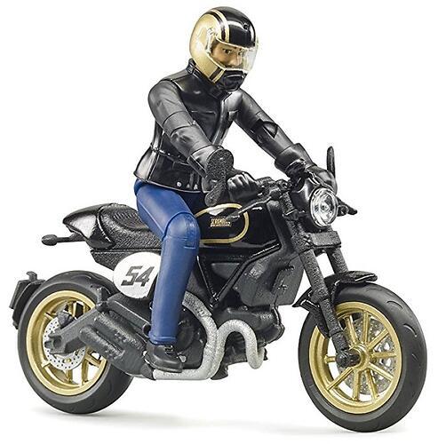 Мотоцикл Bruder Scrambler Ducati Cafe Racer с мотоциклистом (5)