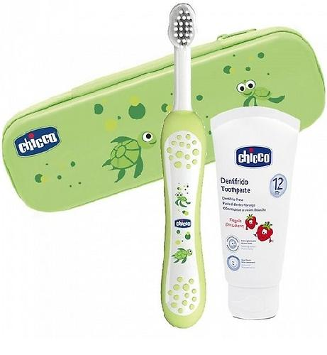 Набор Chicco для ухода за полостью рта (зубная щетка и паста) унисекс 12+ (1)