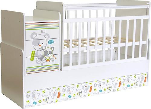 Кроватка-трансформер детская Фея 1100 Панды Белый (5)