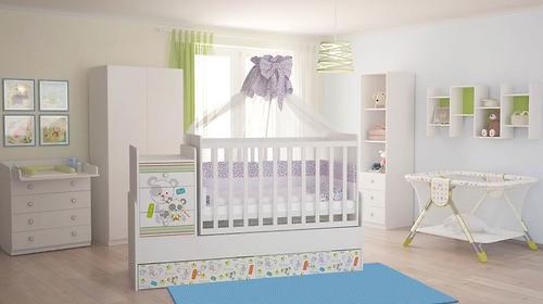 Кроватка-трансформер детская Фея 1100 Панды Белый (7)