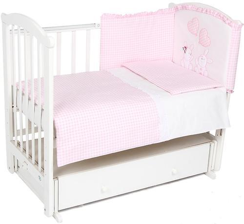Уценка! Комплект в кроватку Leader Kids Зайчата 7 предметов, розовый (3)