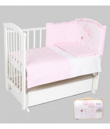 Уценка! Комплект в кроватку Leader Kids Зайчата 7 предметов, розовый (4)