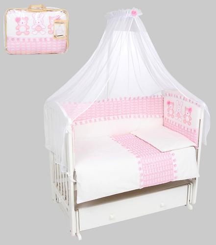 Комплект в кроватку Leader Kids Нежные друзья 7 предметов Розовый (1)