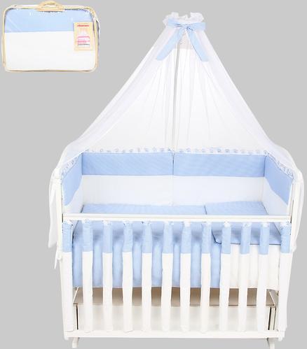 Комплект в кроватку Leader Kids Клетка 7 предметов Голубой (1)