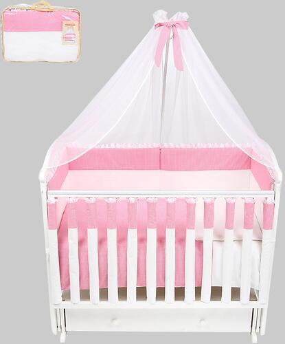 Комплект в кроватку Leader Kids Клетка 7 предметов Розовый (1)