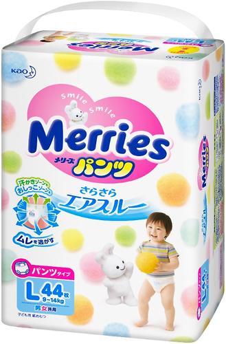 Подгузники-трусики Merries L 9-14кг 44шт (6)
