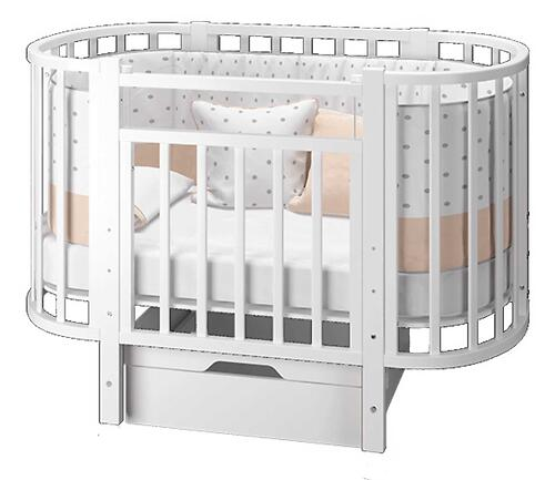Кровать-трансформер Можгамебель Элен 3 с маятником и ящиком Белая (8)
