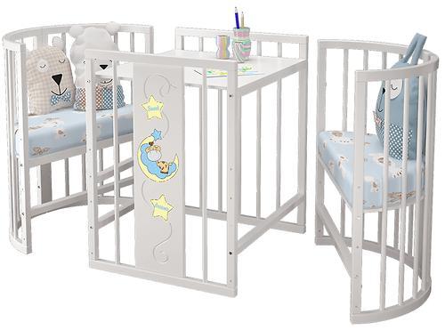 Уценка! Кровать-манеж 8в1 Можгамебель Эстель Белая (Мг) (8)