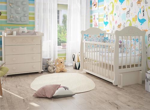Кровать-манеж Можгамебель Мишутка 2 Белая без ящика (10)