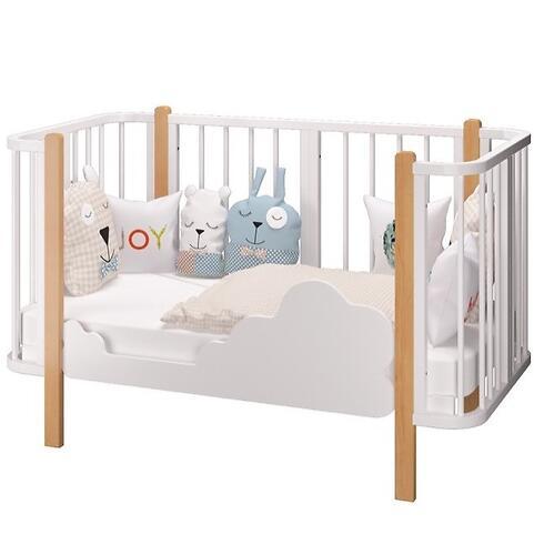 Кровать-трансформер Можгамебель Оливия с комплектом расширения Белая-Бук (11)