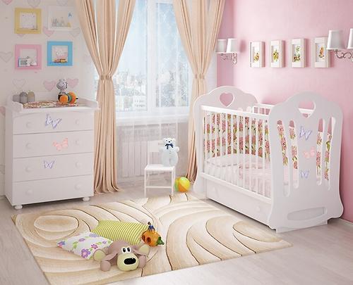 Кровать-манеж Шарлотта 3 с ящиком Птички Белая (8)