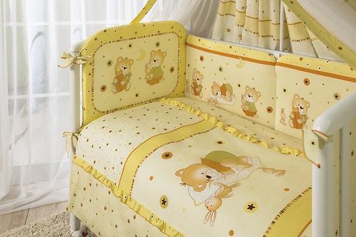 Комплект в кроватку Perina Ника Мишка на подушке Бежевые 4 предметов (5)