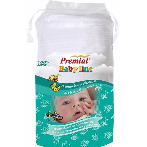 Ватные диски Premial детские овальные 40 шт. (1)