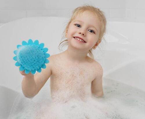 Губка для тела Roxy Kids силиконовая Подсолнух Голубая (11)