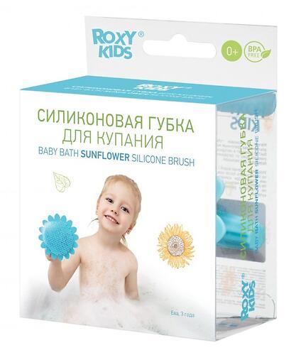Губка для тела Roxy Kids силиконовая Подсолнух Голубая (12)