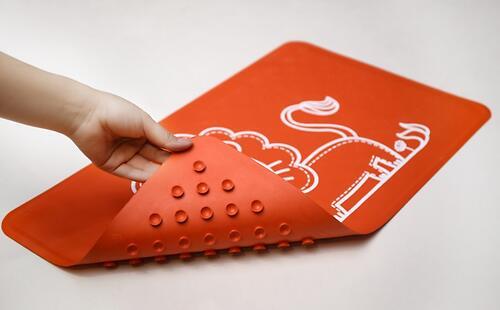 Антискользящий резиновый коврик для ванны Roxy Kids Красный (6)