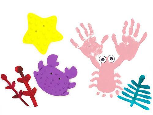 Набор антискользящих мини-ковриков ROXY-KIDS для ванны с пальчиковыми красками (9)