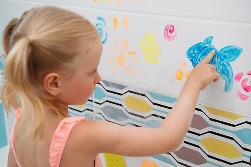 Набор антискользящих мини-ковриков ROXY-KIDS для ванны с пальчиковыми красками (10)