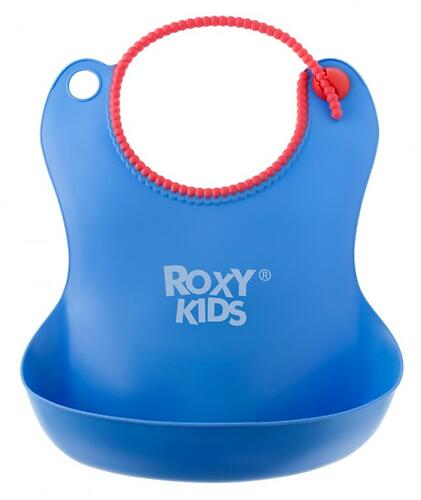 Нагрудник Roxy Kids мягкий с кармашком и застежкой RB-401-B Синий (6)