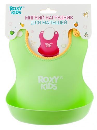 Нагрудник Roxy Kids мягкий с кармашком и застежкой RB-401-G Зеленый (7)