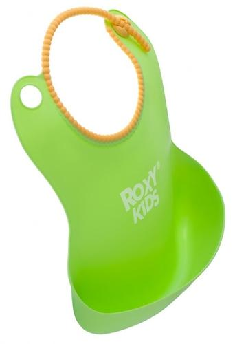 Нагрудник Roxy Kids мягкий с кармашком и застежкой RB-401-G Зеленый (8)