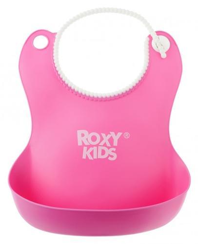 Нагрудник Roxy Kids мягкий с кармашком и застежкой RB-401-R Розовый (7)