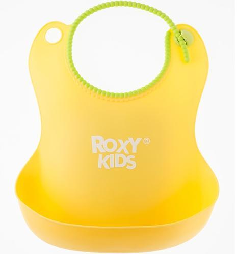 Нагрудник Roxy Kids мягкий с кармашком и застежкой RB-401-Y Желтый (7)