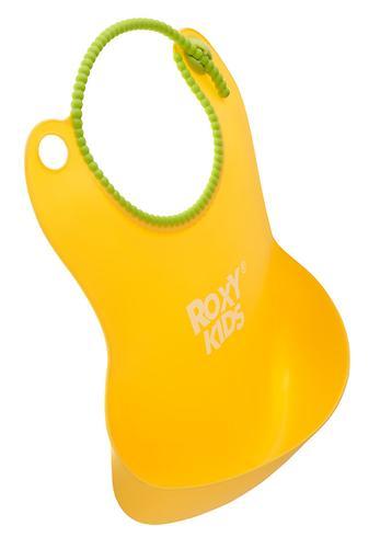 Нагрудник Roxy Kids мягкий с кармашком и застежкой RB-401-Y Желтый (8)
