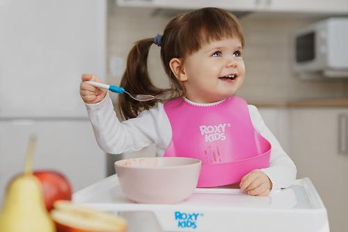 Нагрудник Roxy Kids мягкий с кармашком и застежкой RB-401-R Розовый (12)